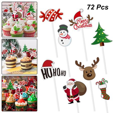 Amosfun 72PCS Christmas Cupcake Toppers Santa Claus Tree Snowman Sock Candy Theme Party Cake Toppers Picks Decoration Supplies ()