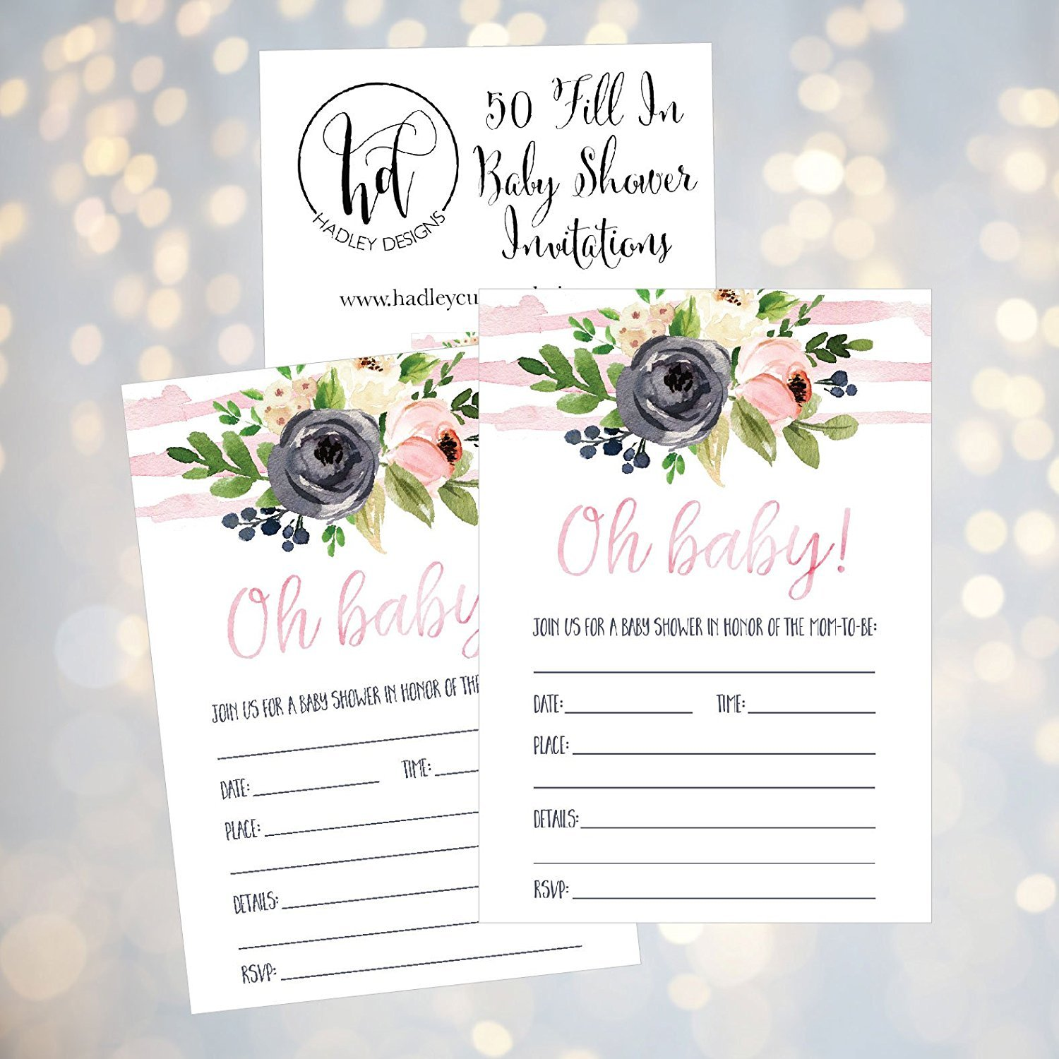 50 Fill In Floral Baby Shower Invitations Baby Shower Invitations