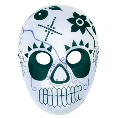Skull Unisex Adult Day Of The Dead Costume Plastic Full Face Mask - Day Of The Dead Costume Mask