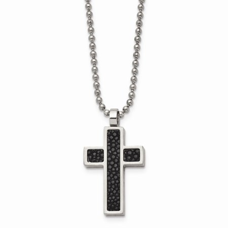 Mia Diamonds Stainless Steel Black Stingray Leather Cross Pendant 24in Necklace Chain