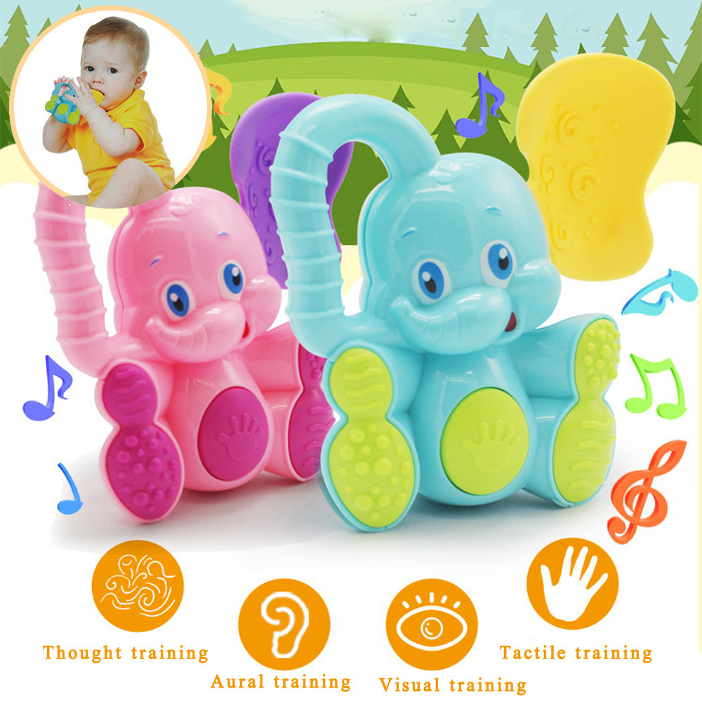 Mosunx Safety Baby Toddler Teether Hand Shake Bell Ring Funny Educational Elephant Toy