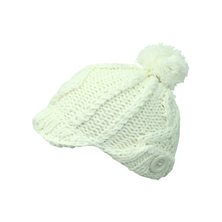Stretchy Knit Newsboy Cap With Pom - Knitted Newsboy Cap