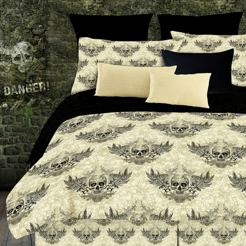 Street Revival Winged Skull Comforter Set,  Off White and Black