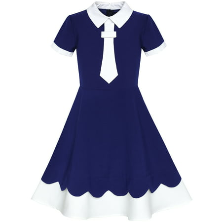 Girls Dress Back School Uniform Navy Blue White Collar Tie Short Sleeve 5 Years