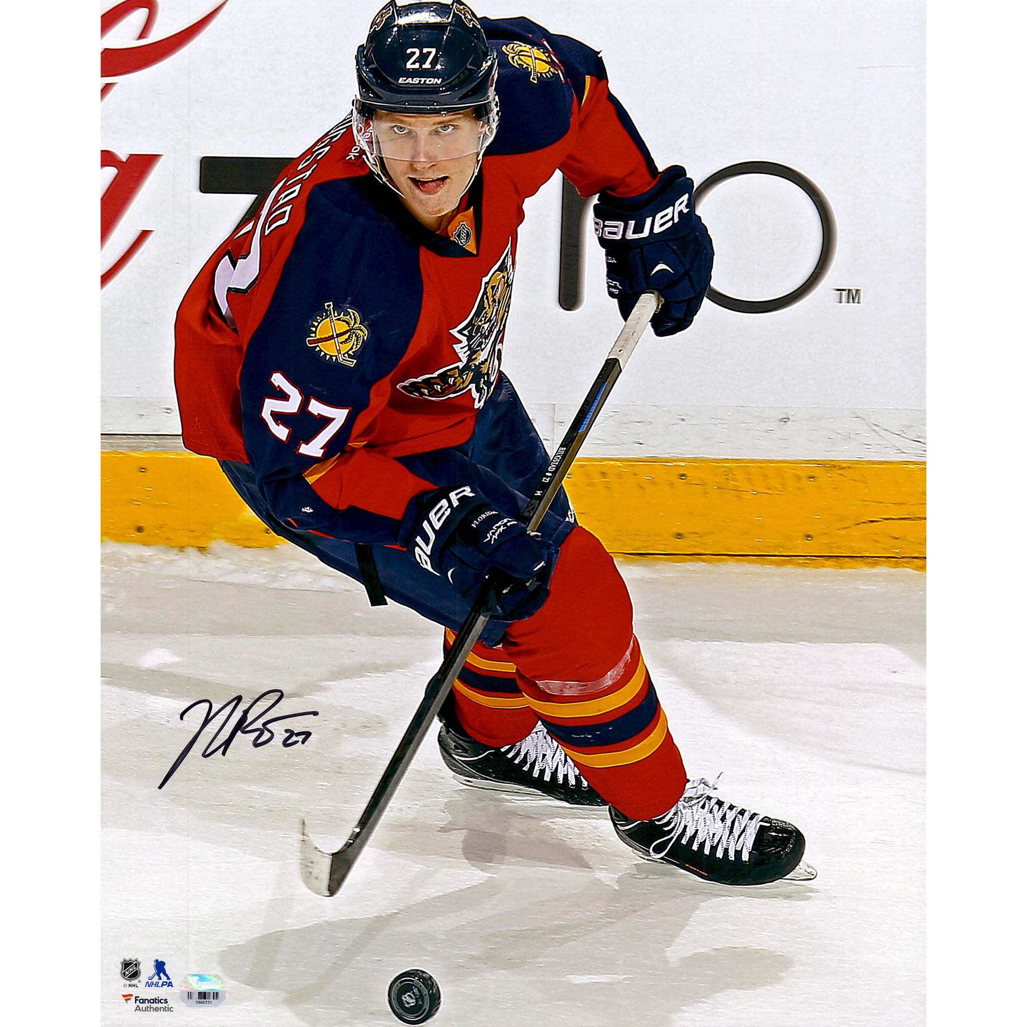 """Nick Bjugstad Florida Panthers Fanatics Authentic Autographed 16"""" x 20"""" Red Jersey Vertical With Puck Photograph - No Size"""