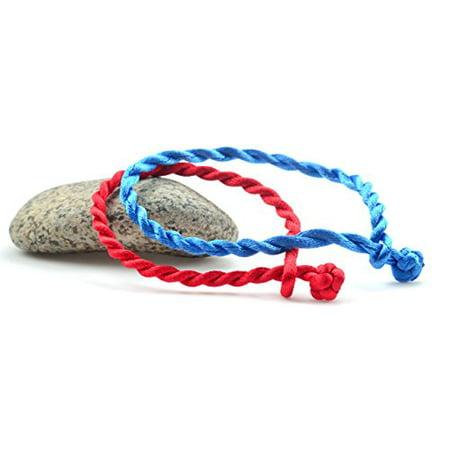 Luos Handmade Red Blue String Bracelet Anklet Men Women Children 2pc