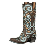Lane Western Boots Women Leather Paulina Studded Designs Brown LB0220A