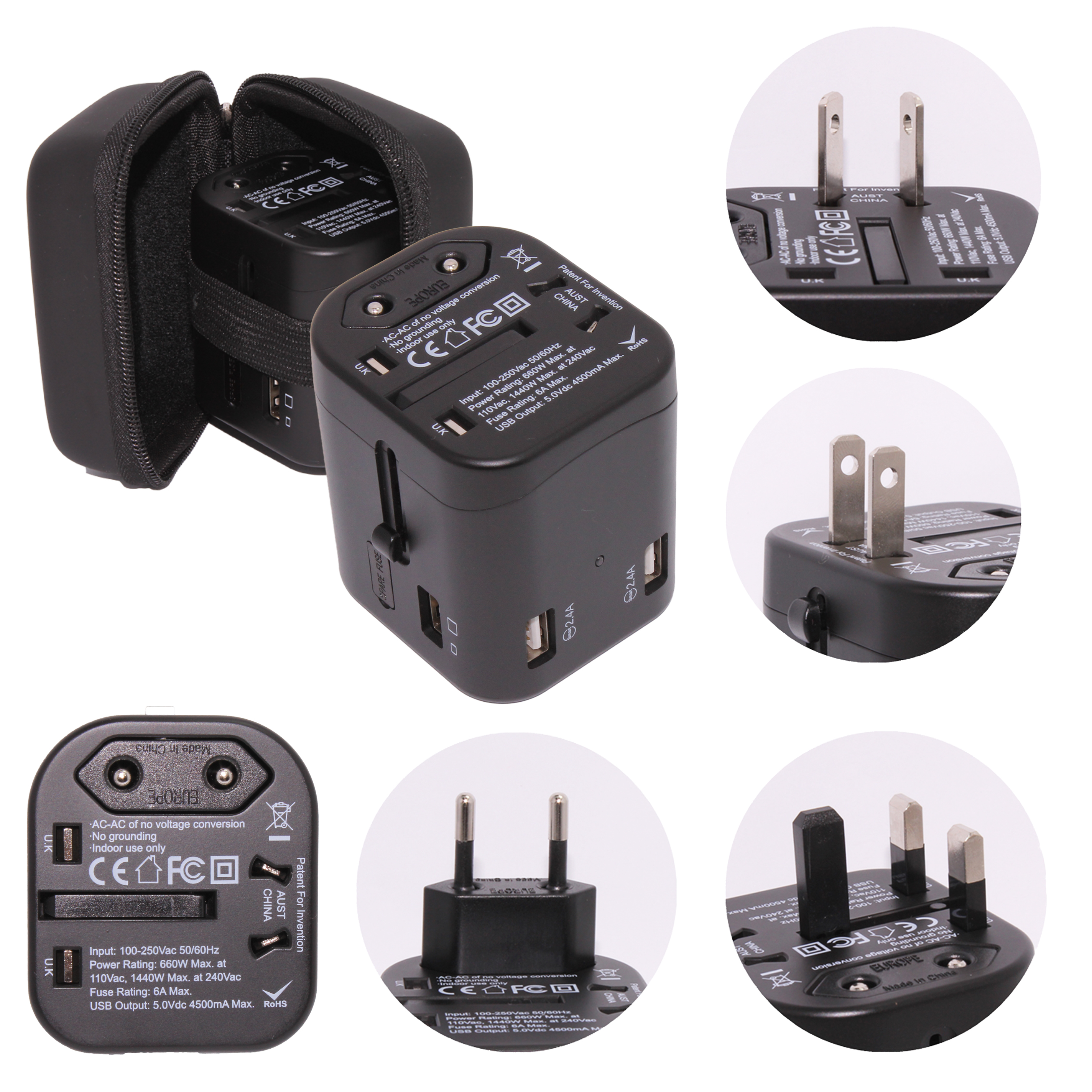 Universal Travel Adapter with 4 USB Port 4500mA MAX and Built-in Multi-plugs for USA | UK | AUS | EUR Includes Hard Bound Case