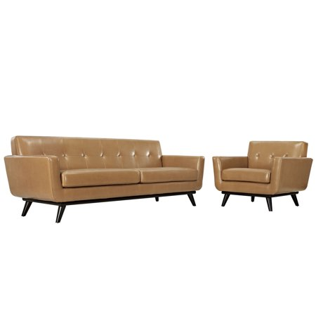 Modern Urban Contemporary 2 pcs Leather Living Room Set, Tan Leather