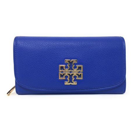 Tory Burch Britten Duo Envelope Continental Wallet Bondi Blue (Tory Burch Robinson Mini Pebbled Leather Wallet Crossbody)