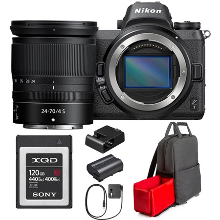 Nikon Z7 FX-Format 4K Mirrorless Camera with NIKKOR Z 24-70mm f/4 Lens Bundle with Sony Professional XQD G-Series 120GB Memory Card and Photo and Video Backpack for Mirrorless and DSLR Cameras