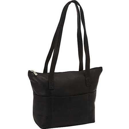 Top Zip Opening Leather Shopping Bag w 6 Outside Open Pocket (Black) - Black Shopping Bags