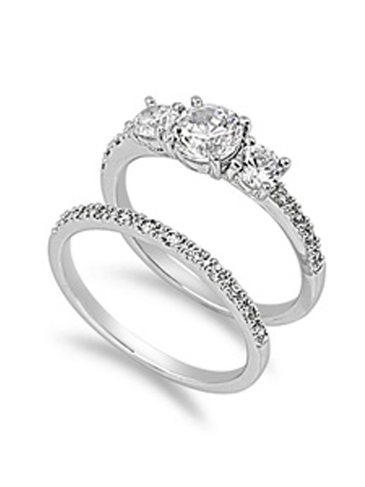 Sterling Silver Custom Engagement Ring ( Sizes 4 5 6 7 8 9 10 11 12 ) Wedding Band Bridal Set Rings by Sac Silver (Size 10)