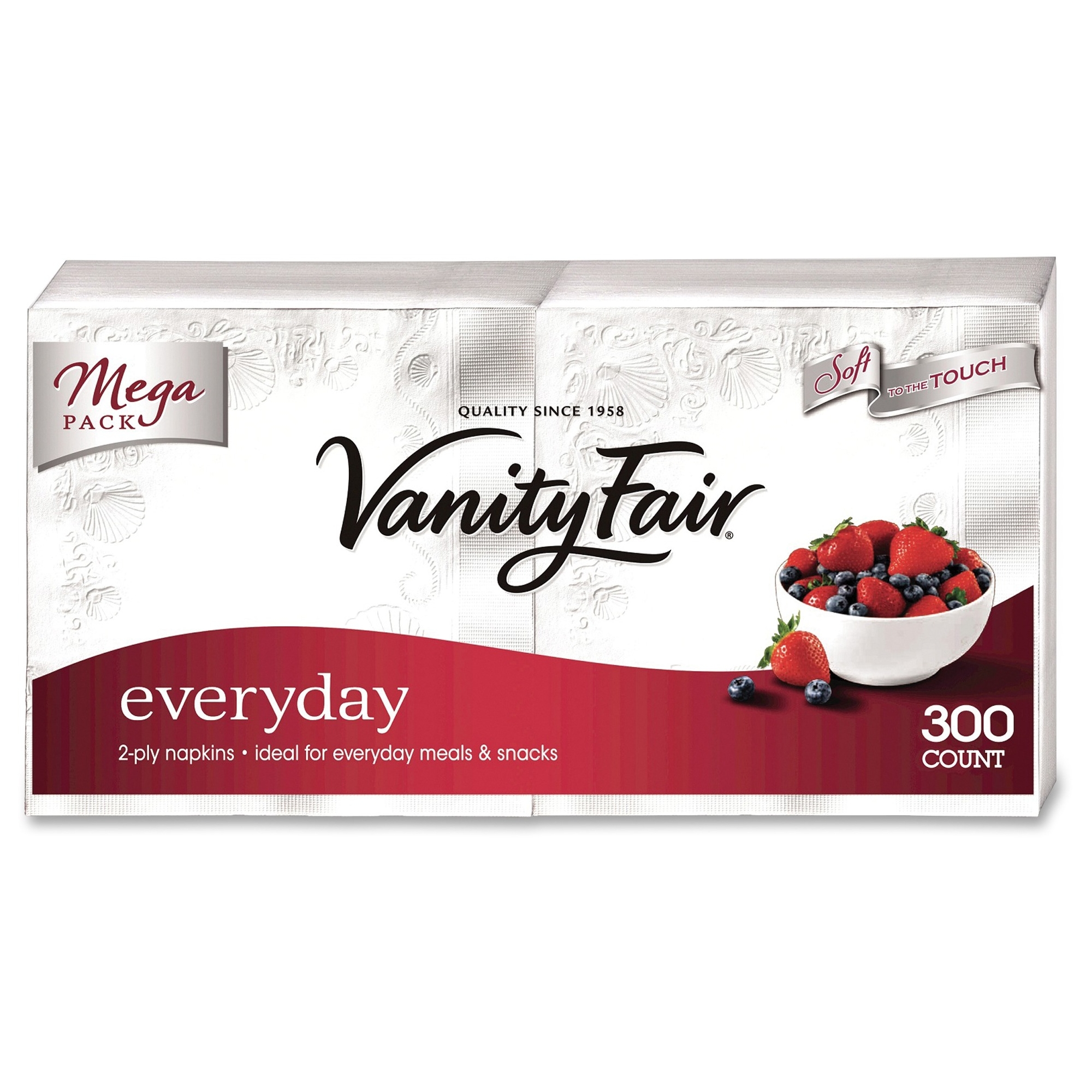 """Vanity Fair Everyday Napkins - 2 Ply - 13"""" X 12.75"""" - White - Paper - Soft, Strong, Absorbent, Textured - For Breakfast, Dinner - 8 Sheets Per Pack - 2400 / Carton (3550314ct)"""