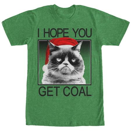 Grumpy Cat Men's Christmas Get Coal T-Shirt