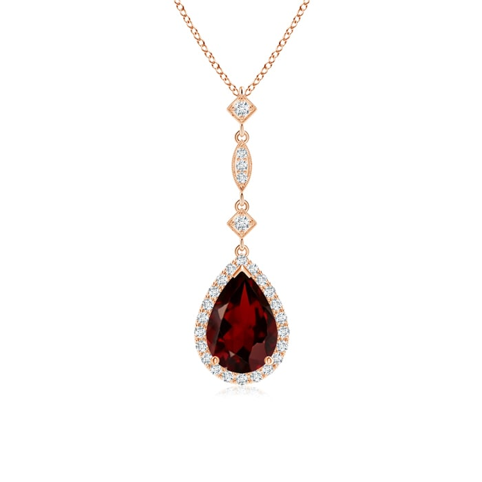 "1.55 carat Pear Cut Prongs Set Garnet Pendant Necklace With Accent Diamonds in 14K Rose Gold, 18"" Inches, January... by Angara.com"
