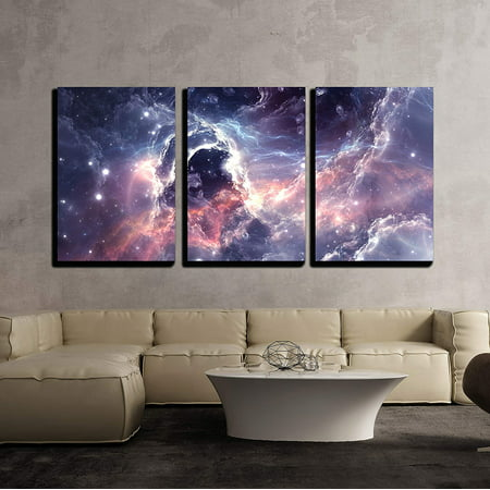 wall26 - 3 Piece Canvas Wall Art - Plasmatic Nebula, Deep Outer Space Background with Stars - Modern Home Decor Stretched and Framed Ready to Hang - 24