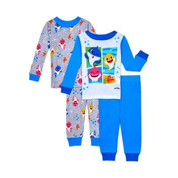 4-Piece Baby Shark Unisex Long Sleeve Snug Fit Cotton Pajamas Set