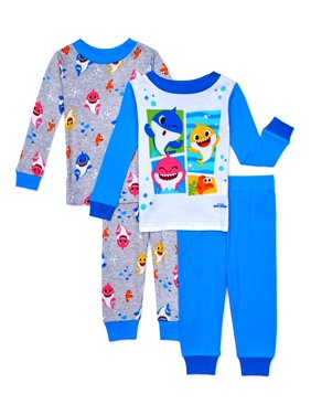 Baby Shark Baby & Toddler Boys or Girls Unisex Long Sleeve Snug Fit Cotton Pajamas, 4pc Set