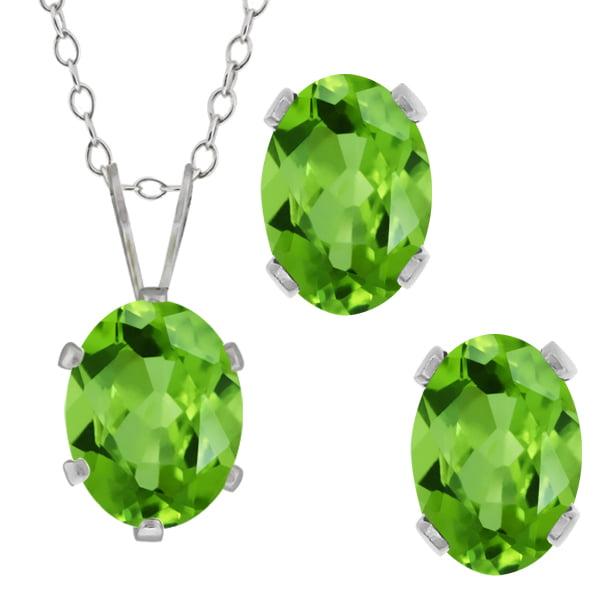 2.75 Ct Oval Green Peridot Gemstone Sterling Silver Pendant Earrings Set