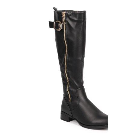 Women Leatherette Knee High Buckle Zip Riding Boot DA98