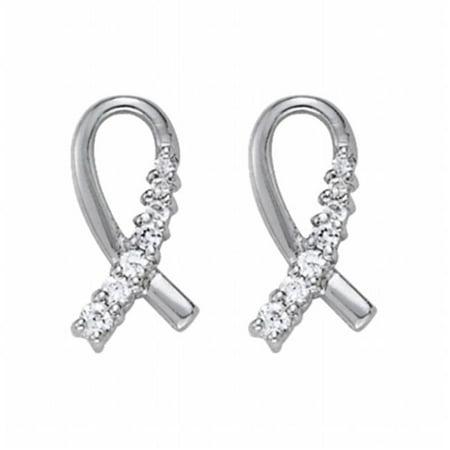 Fine Jewelry Vault UBNER40960AGCZ Cancer Awareness Symbol Design CZ Earrings in Sterling Silver, 4 Stones (Vault Symbol)
