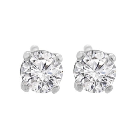 Vs2 Natural (0.92 ct tw G VS2 Natural Round Diamond Stud Earring 14K White Gold Screw Back )