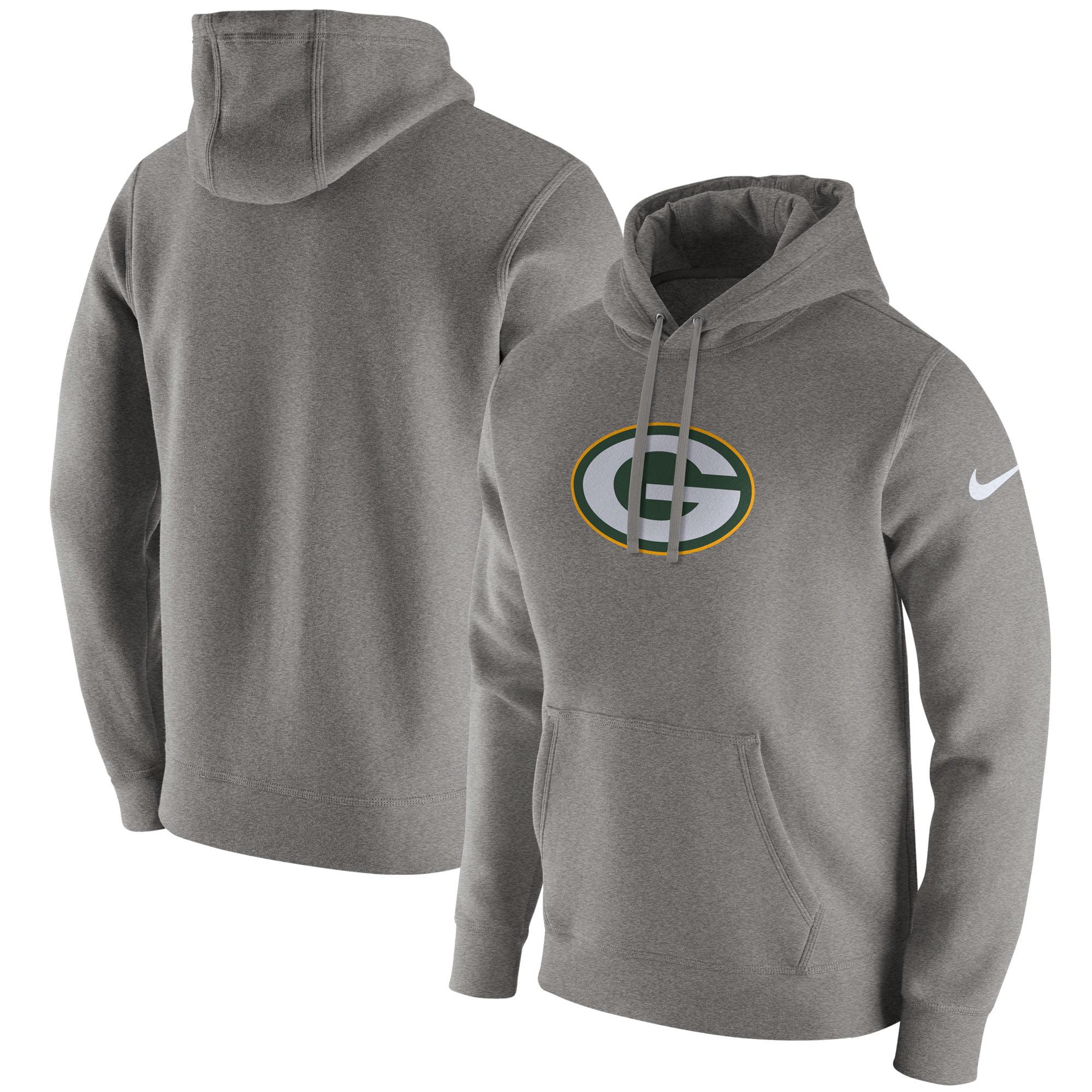 Green Bay Packers Nike Club Fleece Pullover Hoodie - Heathered Gray