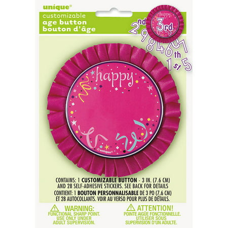 Pink Customizable Age Birthday Button