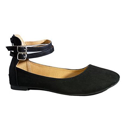 Womens Flats Casual Comfortable and Chic Canvas Flat with Multi Ankle Strap Shoe Ballet Flat Vegan Suede