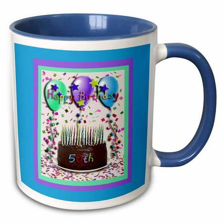 3dRose Happy Birthday 50th Chocolate Cake - Two Tone Blue Mug, 11-ounce