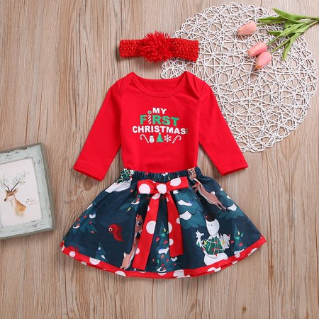 Newborn Baby Girl Xmas Clothes Outfits My First Christmas Romper Skirts 3PCS Set