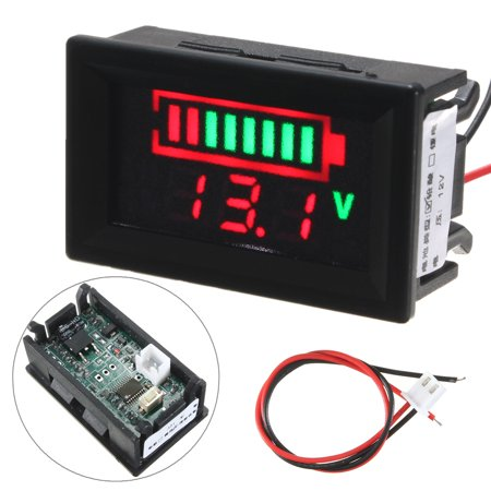 Grtsunsea M.Way Lead Acid Battery Status Indicator Capacity Dual Display LED Tester Meter 12V (Communications Status Indicator)