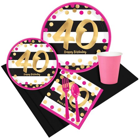 Pink & Gold 40th Birthday Party Pack for 8 (Party Supplies For 40th Birthday)