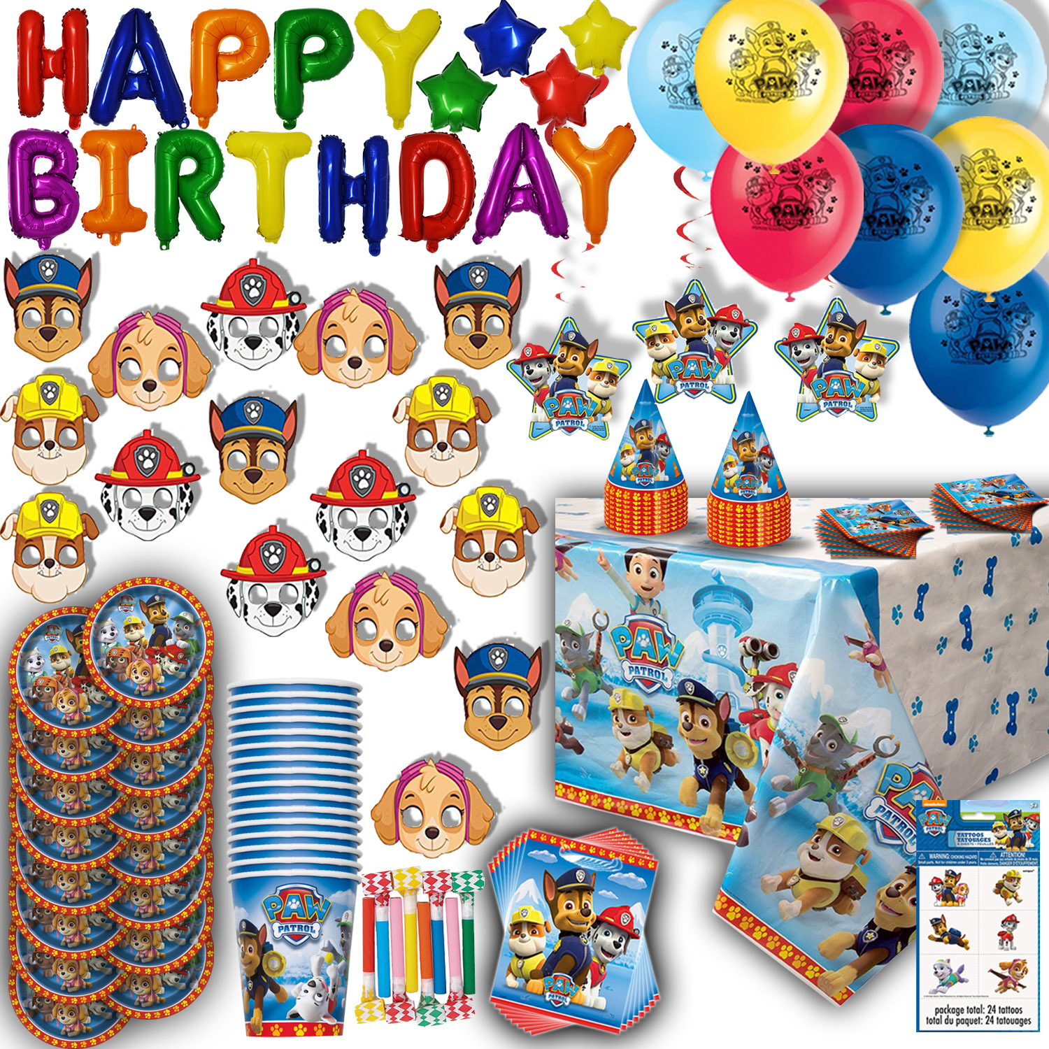 Paw Patrol Party for 16 - Plates, Cups, Napkins, Balloons, Inflatable HAPPY BIRTHDAY Banner, Masks, Loot Bags, Hanging Swirls, Tattoos, Table Cover, Blowouts - Decorations + Supplies