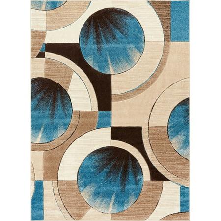 Well Woven Sunburst Blue, Beige, Brown Modern 6x9 7x9 (6'7
