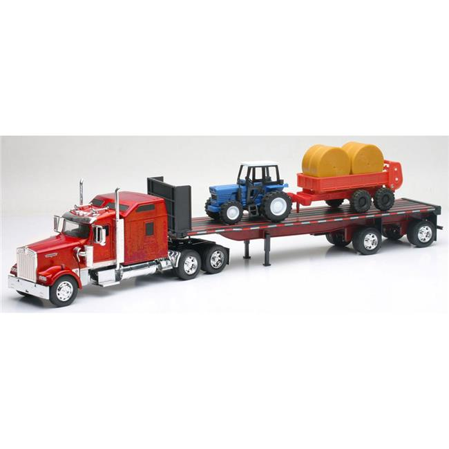 New-Ray SS-10353 Kenworth W900 With Farm Tractor & Trailer by New-Ray Toys Inc