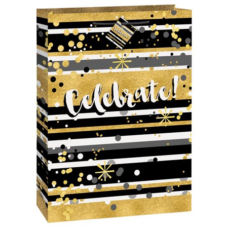 Large Celebrate Gift Bag, 18 x 13 in, Black & Gold, 1ct - Black Gift Bags
