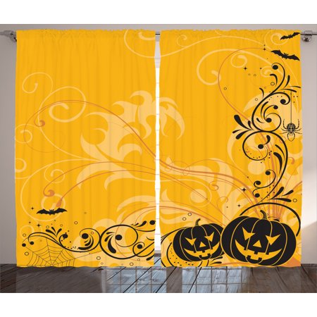 Halloween Decorations Curtains 2 Panels Set, Carved Pumpkins with Floral Patterns Bats and Webs Horror Artwork, Window Drapes for Living Room Bedroom, 108W X 84L Inches, Orange Black, by Ambesonne - Scary Halloween Pumpkin Carving Patterns