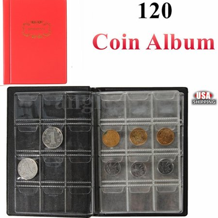 120 Coins Holders Money Penny Collecting Storage  Album Pocket Book 3 Colors