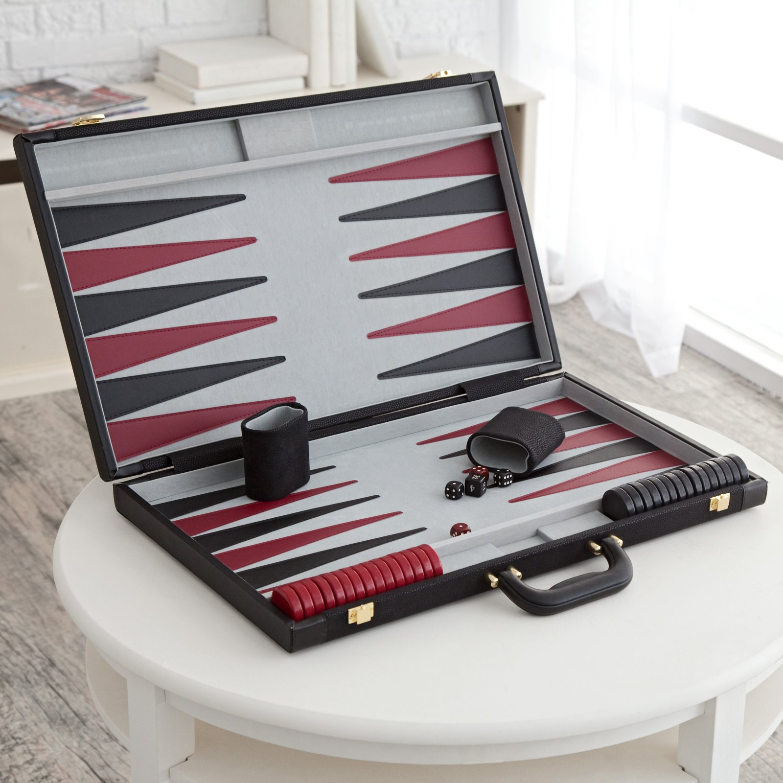 Black Suede Backgammon Set by Wood Expressions