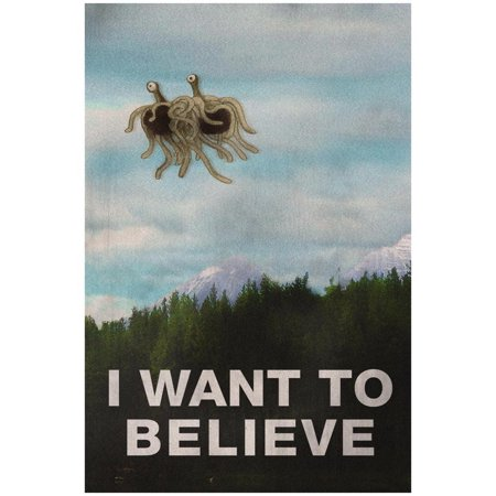 Flying Spaghetti Monster - I Want To Believe Print Wall Art