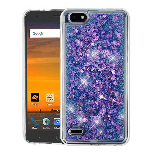 For ZTE Avid 557 / ZTE Tempo Go Case Hybrid Quicksand Liquid Glitter TPU Phone Cover (Hearts & Purple Quicksand Glitter)