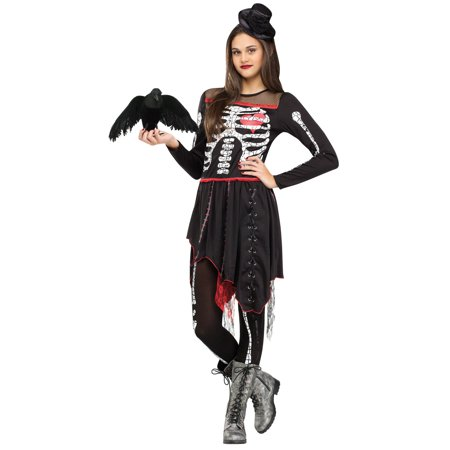 Tween Girls Sassy Skelegirl Costume: Girls Skeleton Halloween Costume JUNIOR 0-9