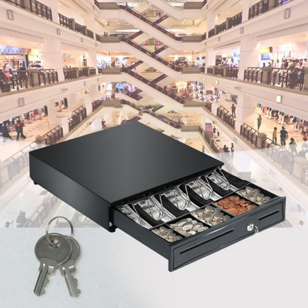 Cash Drawer Box 5 Bill And 5 Coin Tray Heavy Duty Compact Black US Stock Cash Drawer Compact