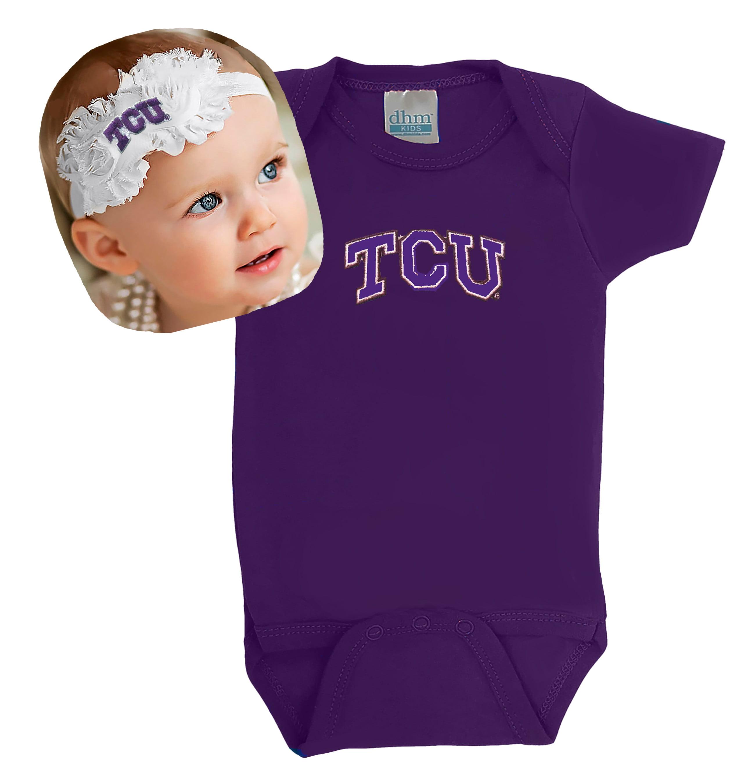 Texas Christian TCU Baby Bodysuit and Shabby Flower Headband Set