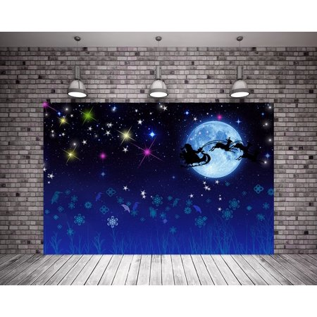 GreenDecor Polyster 7X5ft Glitter Bight Christmas Bright Moon Backdrop Background Royal Blue Sky Santa Claus Photography Backdrop