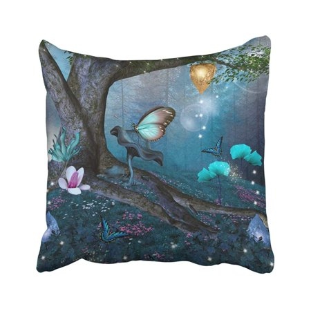 ARTJIA Fantasy Enchanted Tree in the Middle of Blue Forest Magic Garden Nature Tale Mushroom Pillowcase 20x20 inch