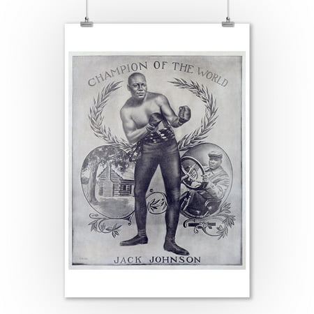 Jack Johnson - Champion of the World Vintage Poster (artist: Anon)  c. 1909 (9x12 Art Print, Wall Decor Travel