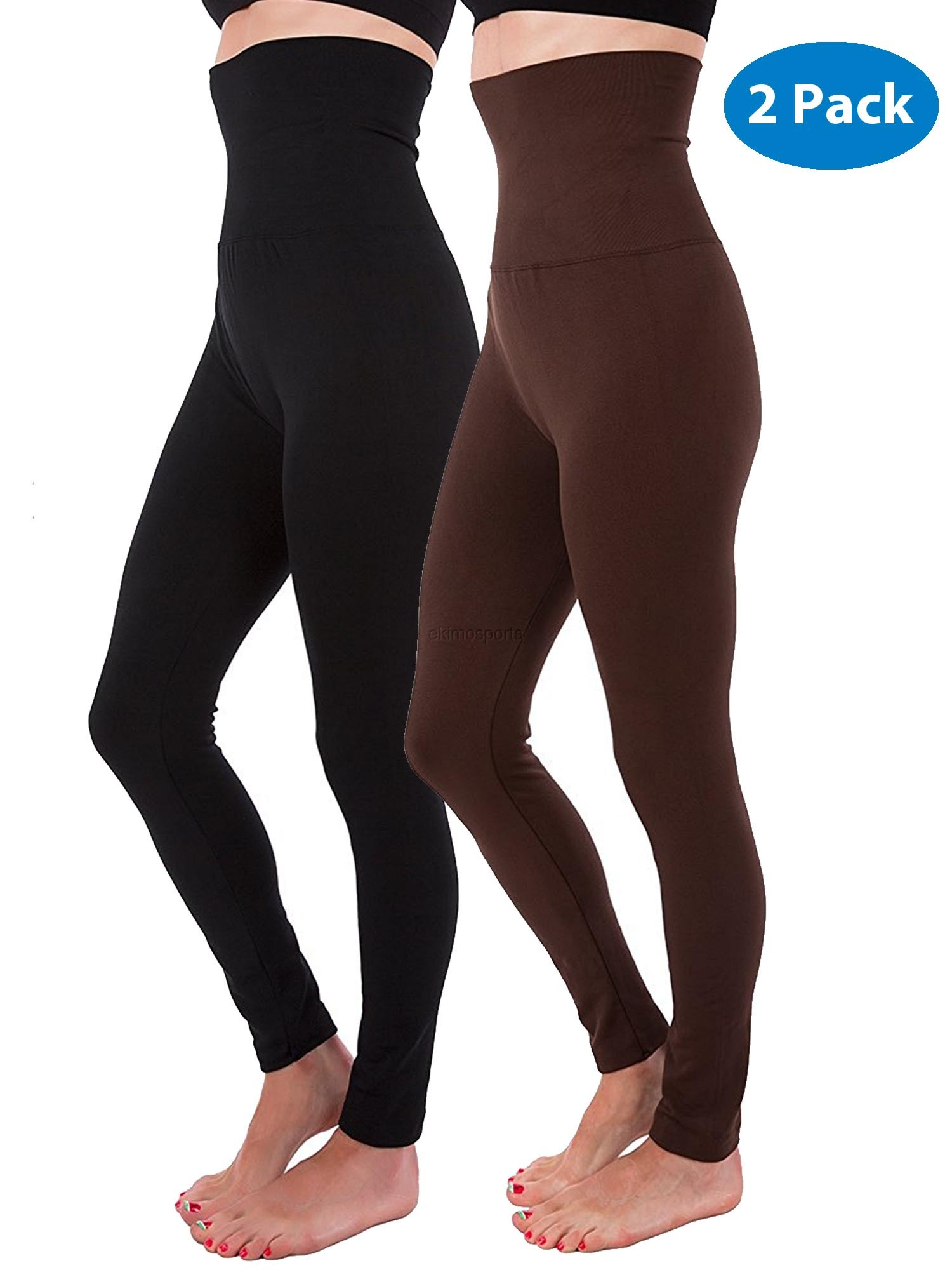 961822e15b4 N J Kuda-Moda - 2-Pack High Waist Tummy Control Full Length Legging  Compression Top Pants Fleece Lined - Walmart.com